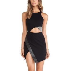 Charles Henry Black Formal Dress with Leather Slit
